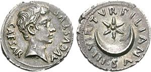 Denarius (silver) of Augustus (27 BCE – 14 CE)